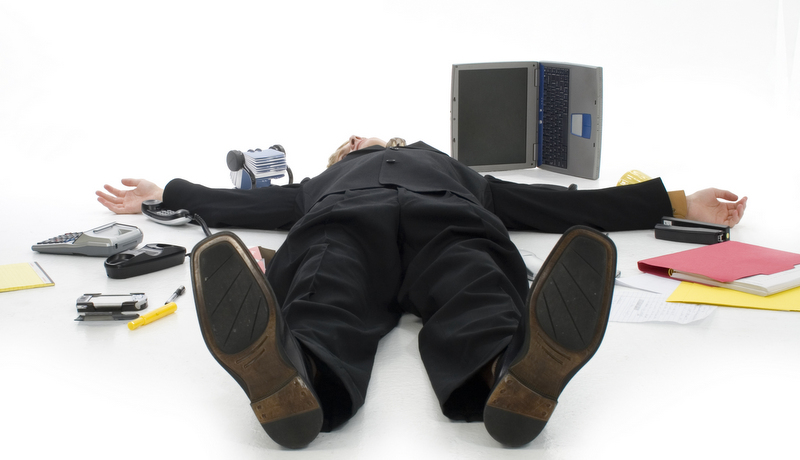 office worker collapsed