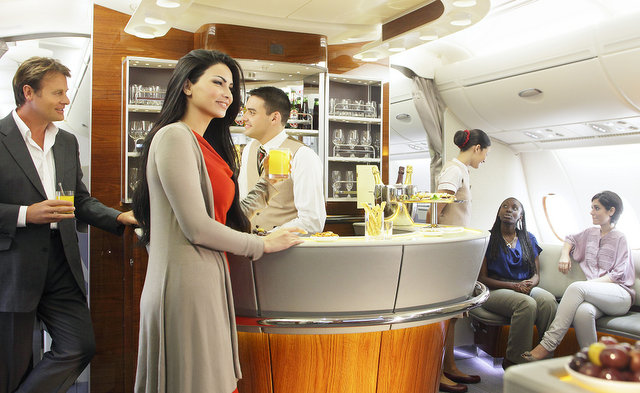 The Emirates, the on-board lounge. trip wellness