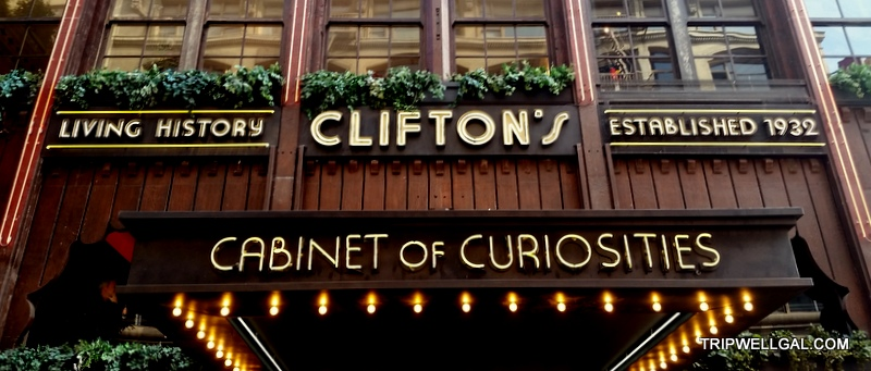 Clifton's Cafeteria facade over Broadway in Los Angeles