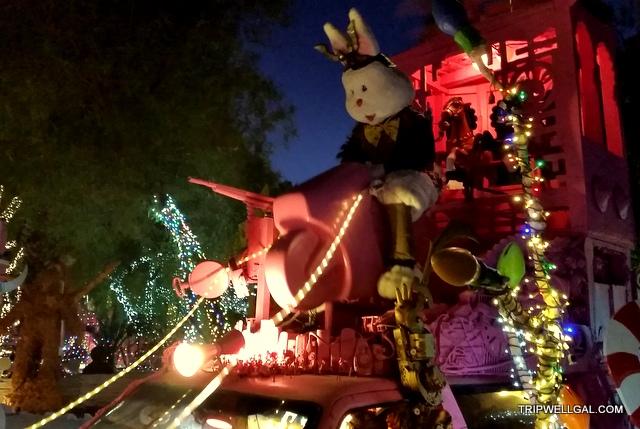 Giant bunny at robolights holiday lights display.