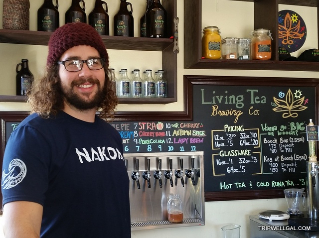 California beach adventure includes a cup or bottle of Kombucha at Living Tea.