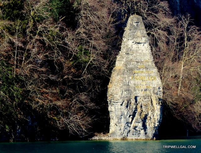 Friedrich Schiller commemorative stone on our Swiss boat trip