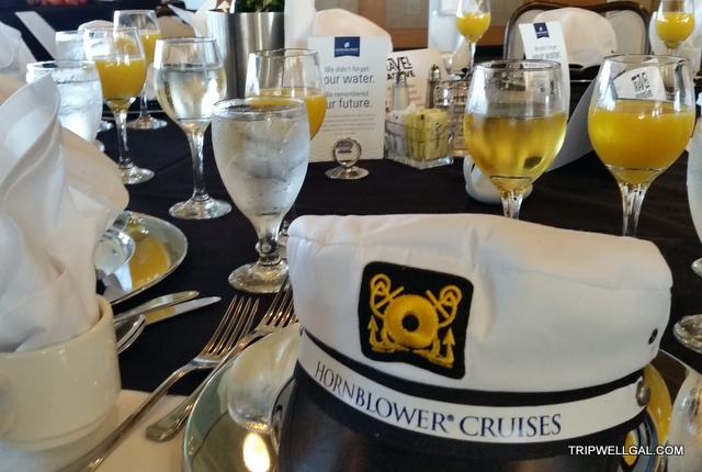 Hornblower cruise hat and champagne on our Sunday brunch