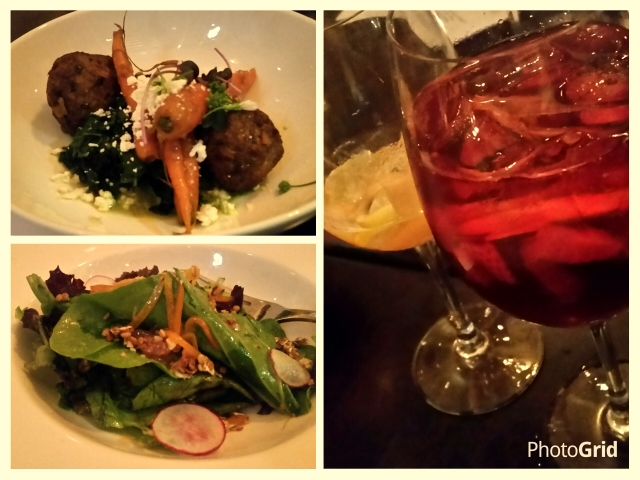 Pop up entrees: Opah meatballs, granola greens , white and red sangria.