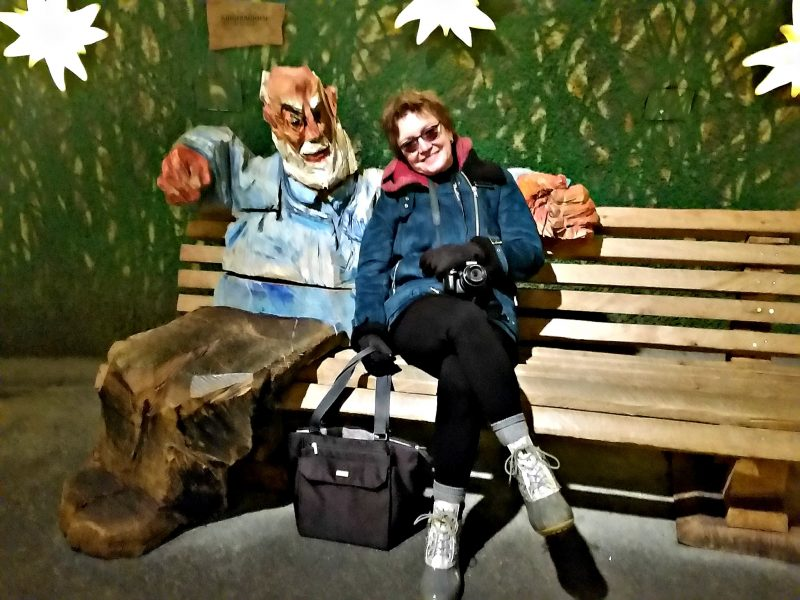 Visiting with Heidi's Grandpa inside the Alpine Sensation displays
