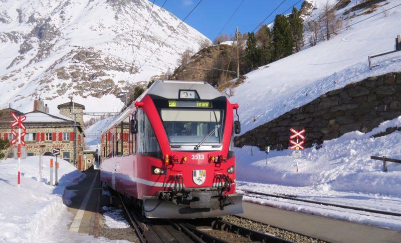 Bernina Express leaving Alp Grum