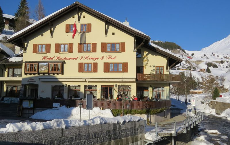 The Three Kings Hotel in Andermatt next to the river about 7 minutes from the train station.