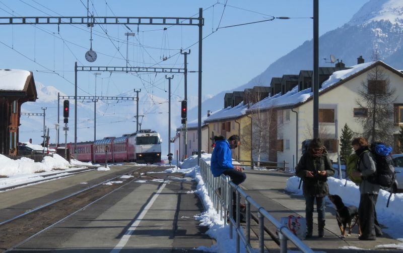 The Celerina train stop one early morning using a Swiss Pass