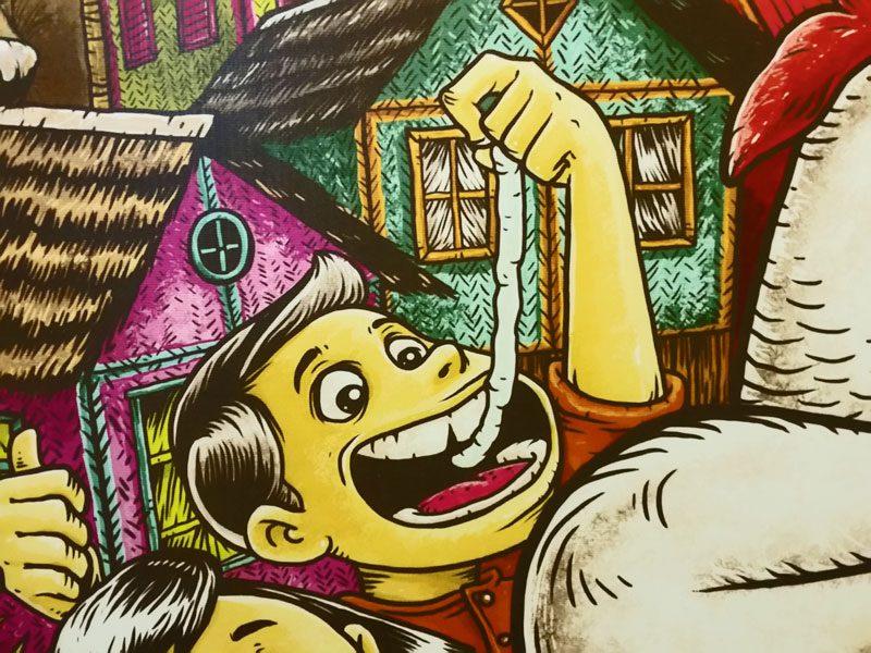 Haim mural of wood worms a Filipino food