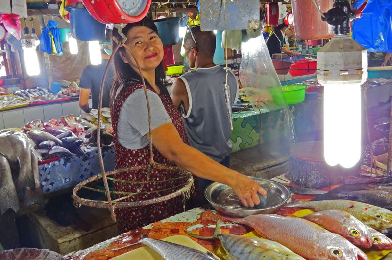 Fish market for Filipino foods in Puerto Princesa