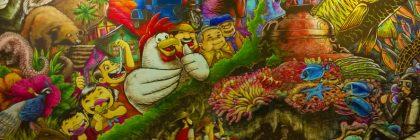 Filipino foods, Palawan style, on a mural at Haim Inatu in Puerto Princesa