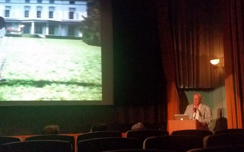 Eugene Chaplin speaking in the Chaplin Theater inside Raleigh Studios