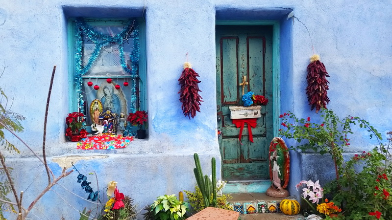 Just one of the colorful adobe houses in the Barrio Viego neighborhood.