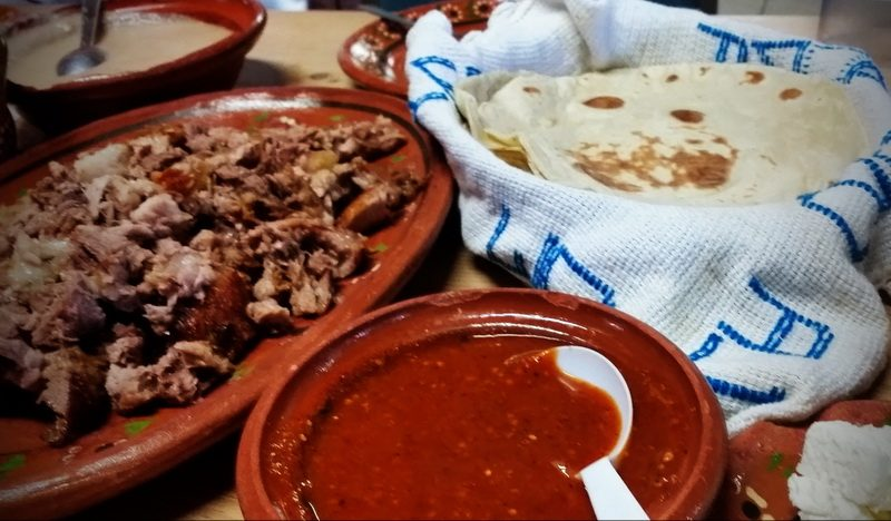 Beans, Machaca, fresh tortillas, salsa and cheese.