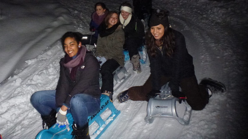 night sledding interlaken blue sled