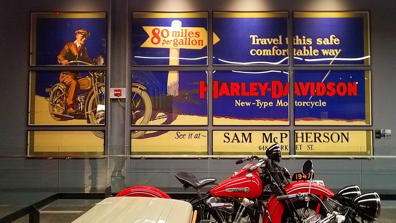 old time motorcyelc sign at the Harley Davidson museum