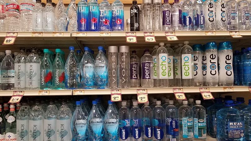 plastic water bottles shelf