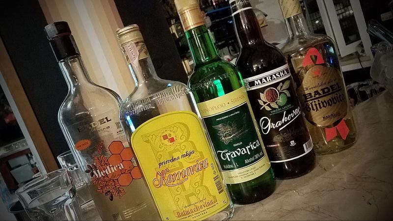 Croatian drinks at a bar in the village of Pučišće