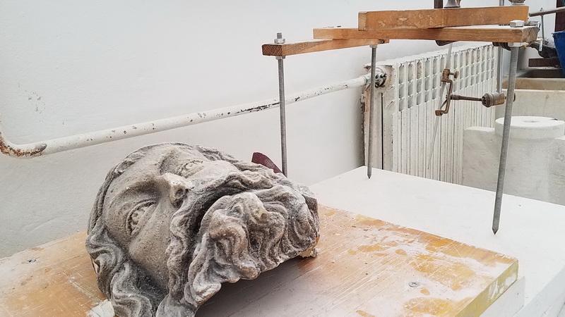 Head in progress inside stonemason school on Brac