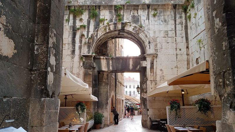 One gate into Diocletians Palace, Split, Croatia
