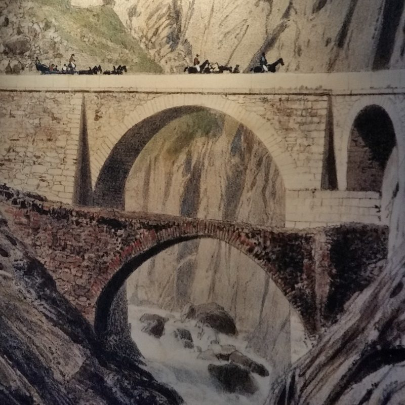Etching of the Gothard crevice bridge not far from Andermatt