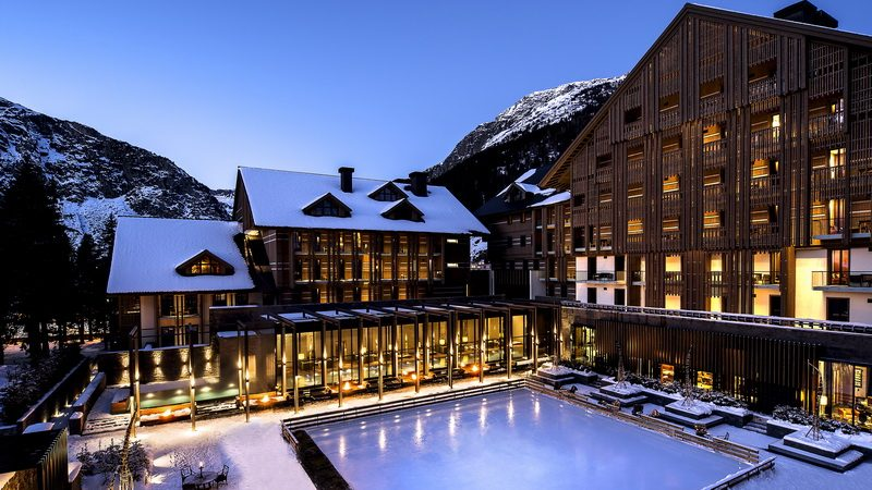 The snowy courtyard of the Chedi in Andermatt