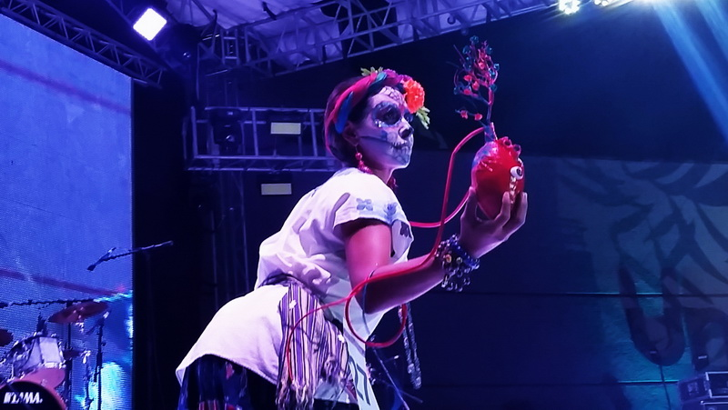 Costume contest during the Dia de Muertos performance in La Paz, Mexico