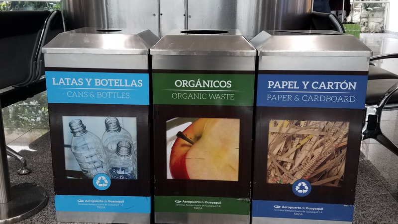 Recycling bins are all over Ecuador