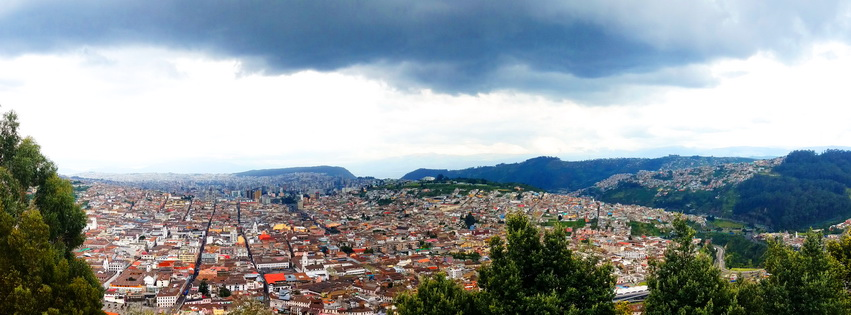 The view at ten thousand feet of Quito rooftops