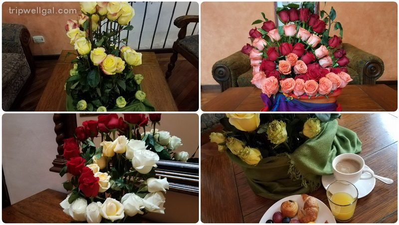 Roses arranged in Quito inns and restaurants.