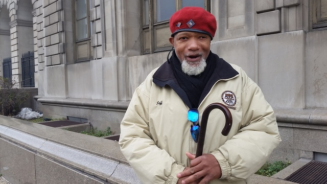 One winter volunteer in Philadelphia ready to perform random acts of kindness.