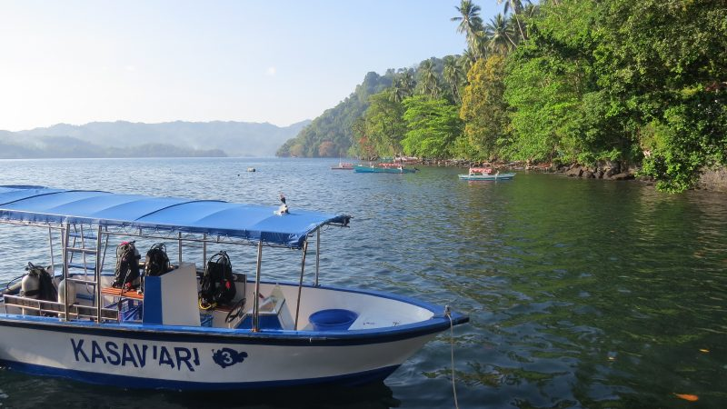Boat ready for scuba diving girls and their buddies at Lembeh Resort