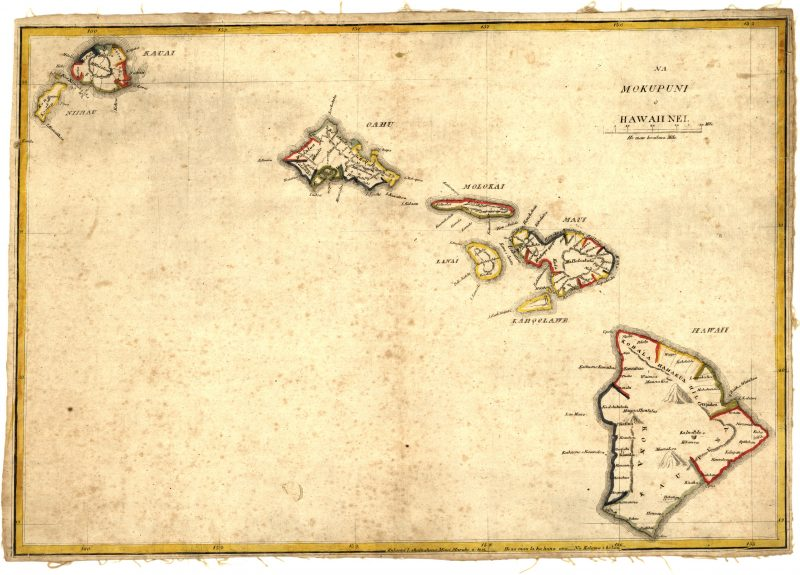 One of the first separate maps of the Hawaiian Islands by the engraver Kalama.