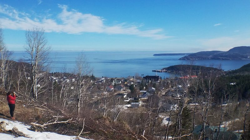 Looking across the wide St. Lawrence and Saguenay fijord from above Tadoussac.