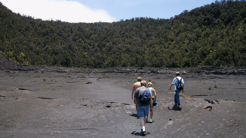 Family hike across the lava bed of Kilauea Iki. One of the reasons to go to Hawaii