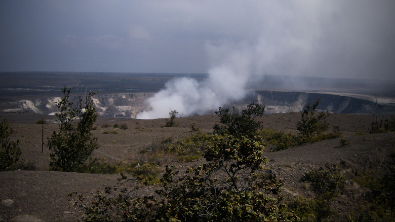 Wide angle view of Kilauea Iki, with Mauna Loa in background By Michael Szoenyi, Wiki Commons