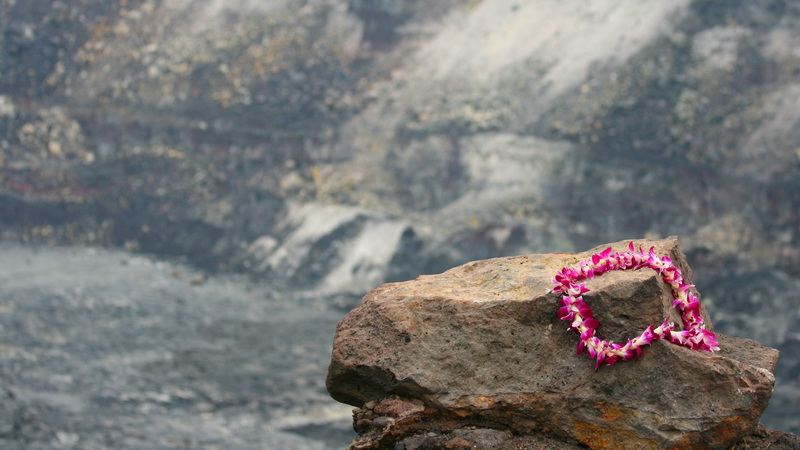 Lei offered to Pele at the rim of Kilauea.