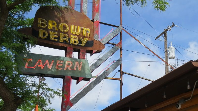 Brown Derby Tavern and log cabin in the Garland District