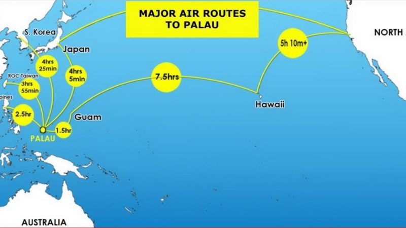 Air routes to Palau