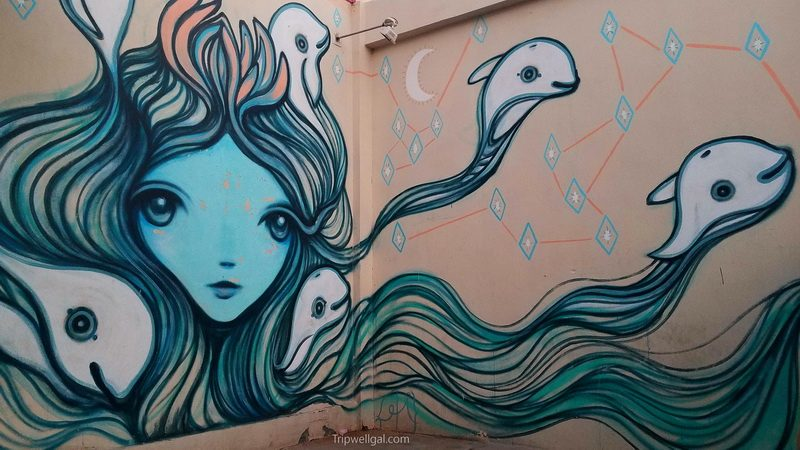 Mural of Vaquita dolphins swimming free of fishing nets in San Felipe