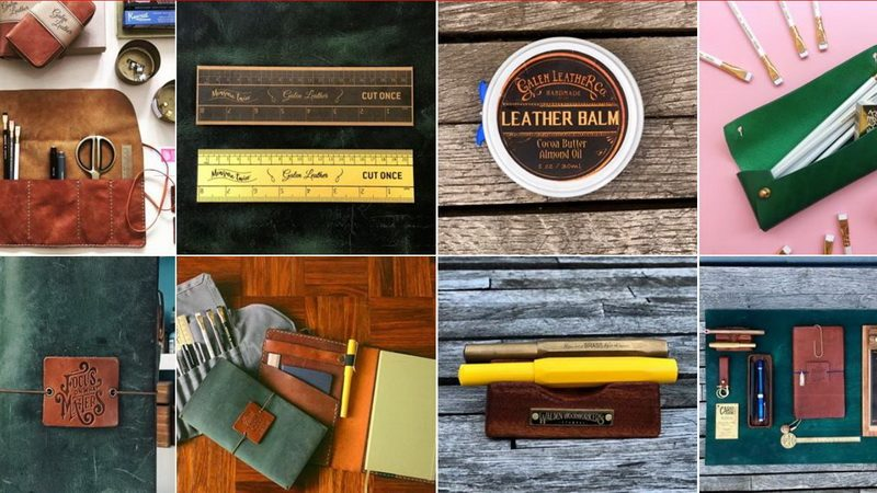 A collection of a few of the Galen Leather goods.