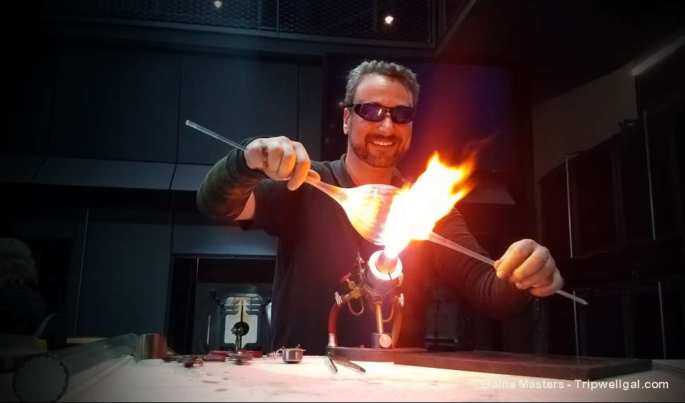 Glass master Eric Goldschmidt in the Corning Museum of Glass