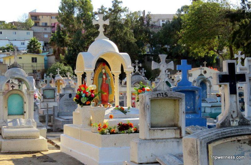 Dia de Muertos decorations inside Tijuana's oldest cemetery