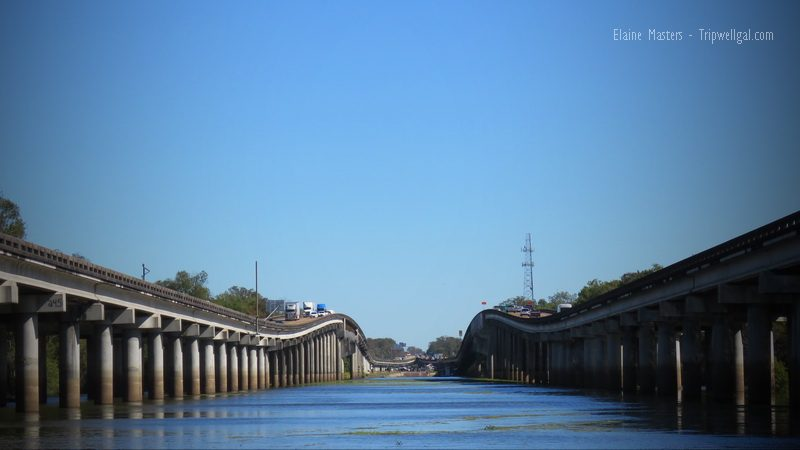 The Atchafalaya Causeway rises above fishermen and airboats.