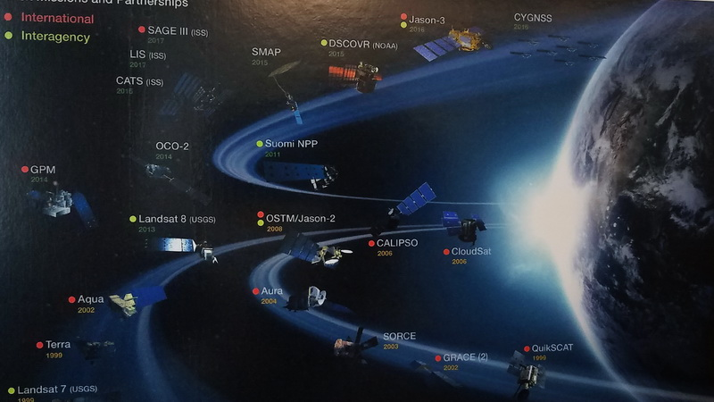 Details of a map showing NASA satellites currently in orbit.
