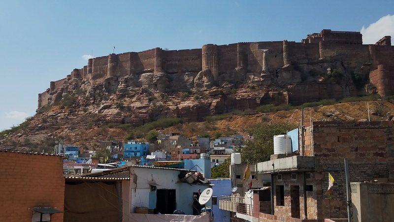 Jodhpur Fort view from the lower Blue City with our tour group