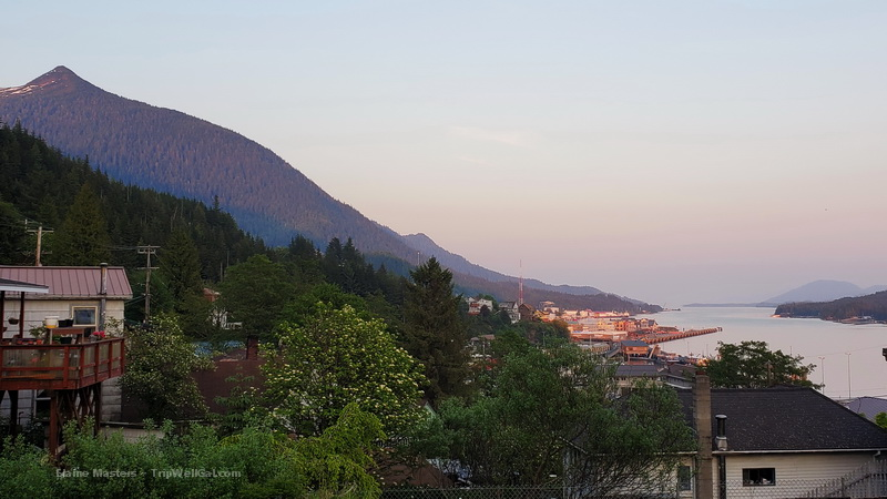 View from Water Street of downtown Ketchikan and the Inside Passage.