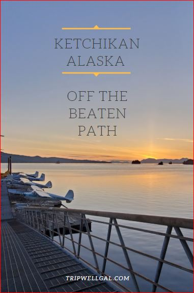 Seaplanes north of Ketchikan, Alaska at sunset