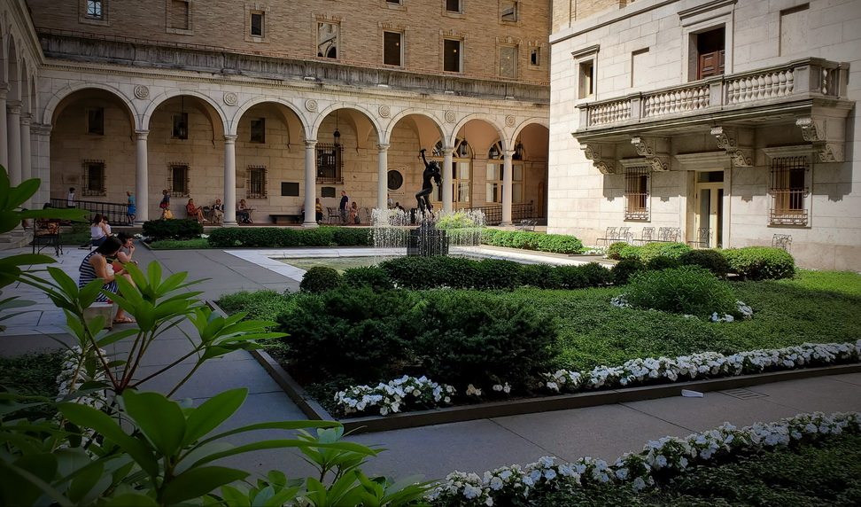 The Boston Public Library courtyard with the waterfall fountain.