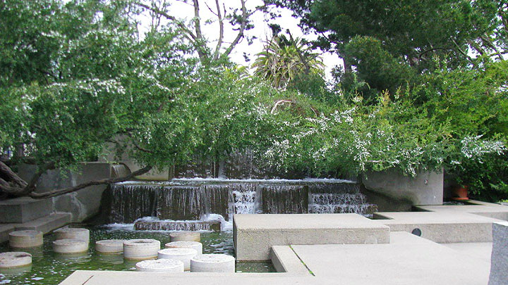One Levi Plaza Waterfall across from the Coit Tower Stairs
